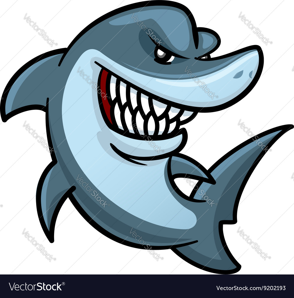Hungry shark with toothy smile cartoon character vector