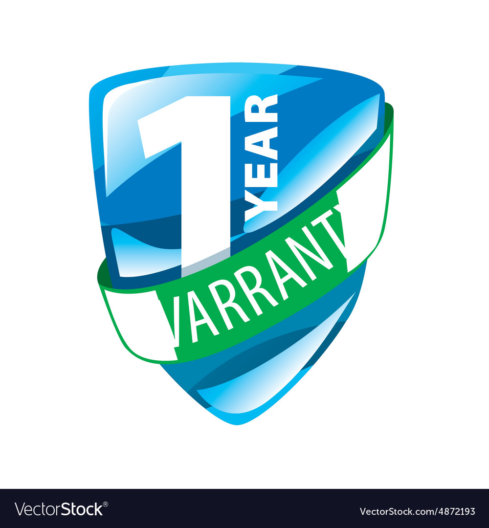 Logo in the form of shield 1 year warranty vector