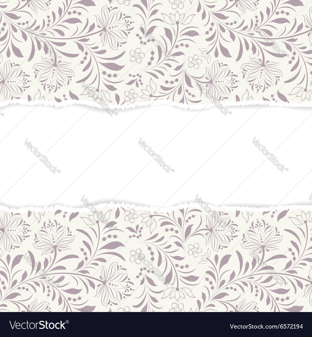 Floral pattern with torn paper vector