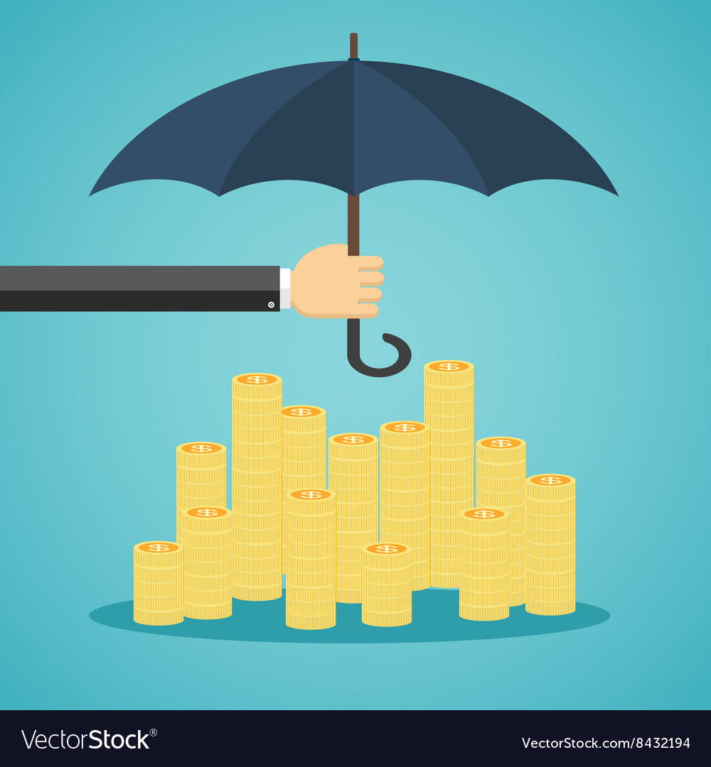 Hand holding umbrella to protect money vector