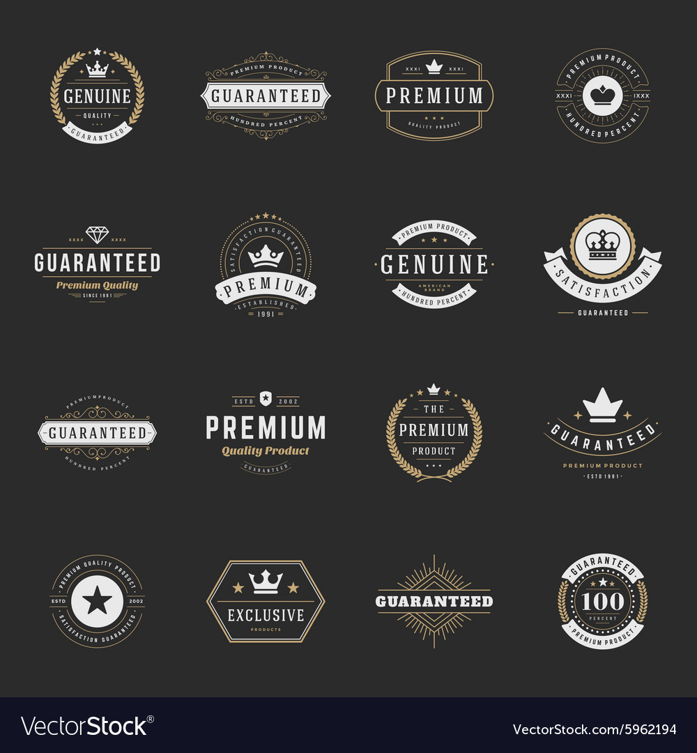 Retro vintage premium quality labels set vector