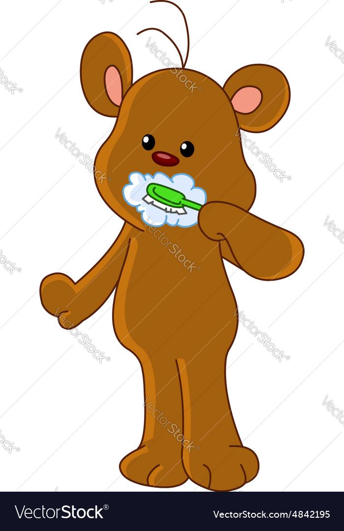 Teddy bear brushing teeth vector
