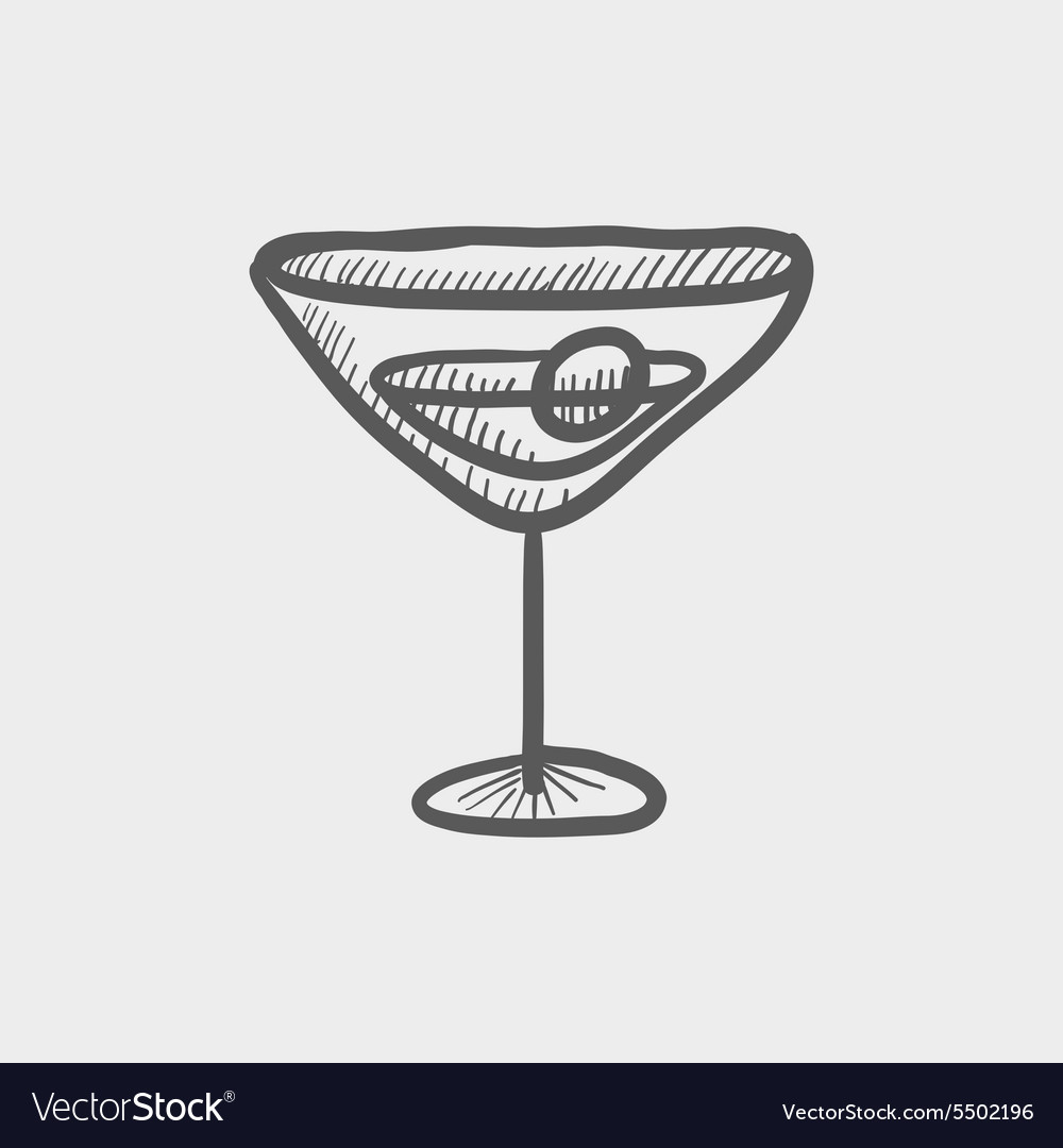 Cocktail drink with cherry sketch icon vector