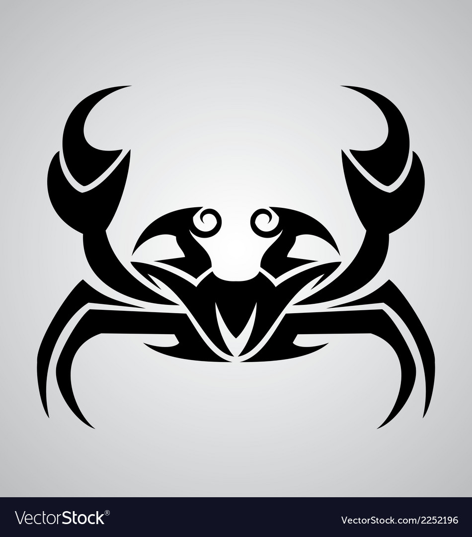 Crab tattoo design vector