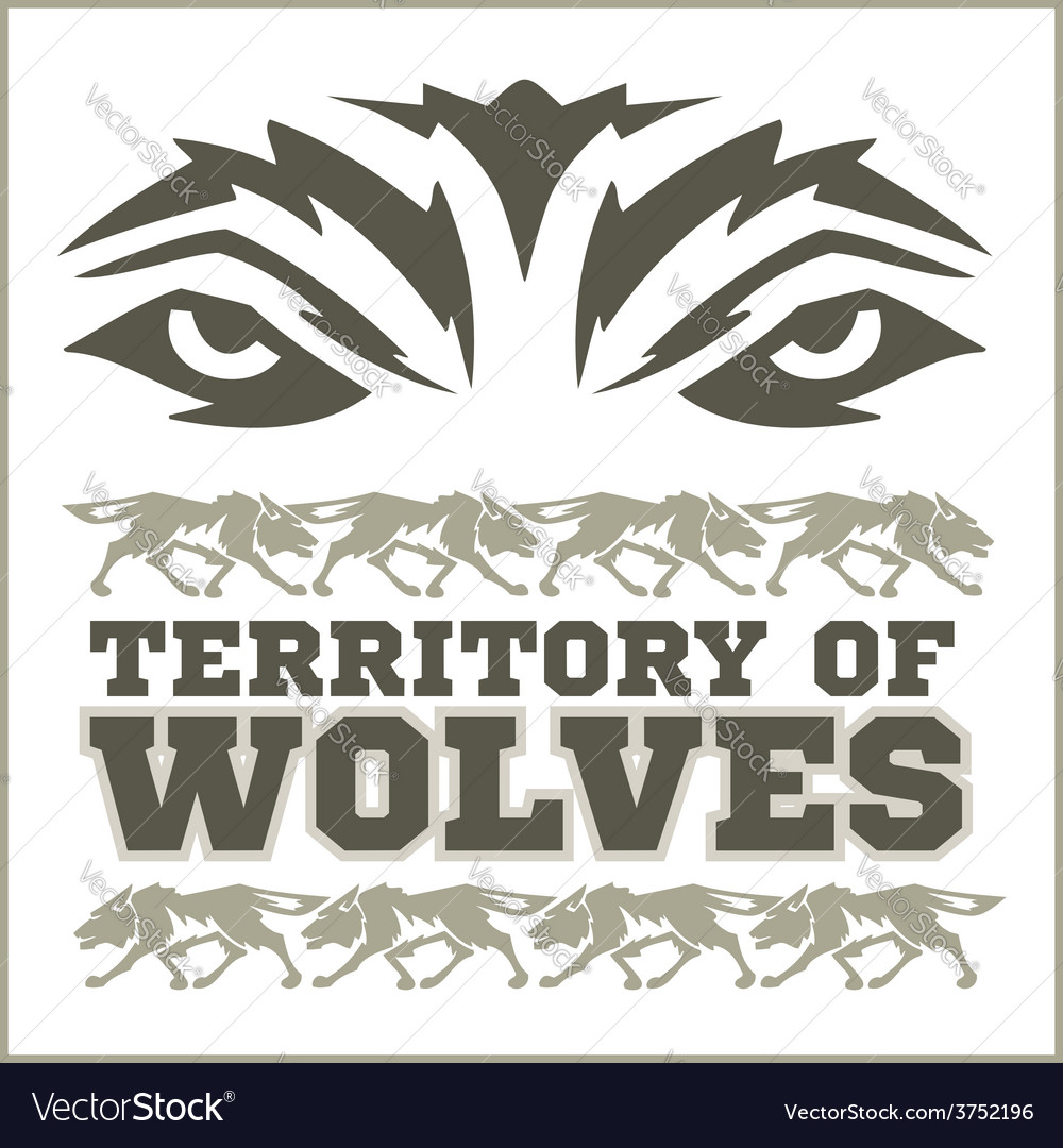 Retro ornament  running wolves and inscriptions vector
