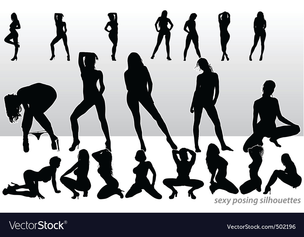 Sexy posing silhouettes vector