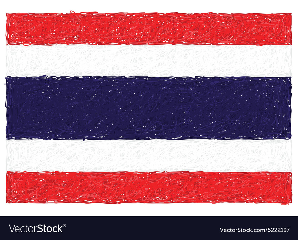 Hand drawn of flag of thailand vector