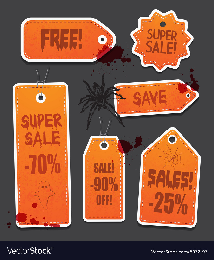 Orange halloween price sale tags isolated on black vector