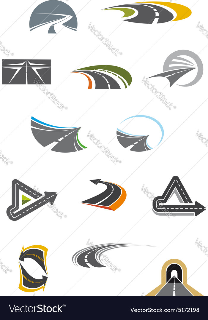 Colored road icons isolated on white vector