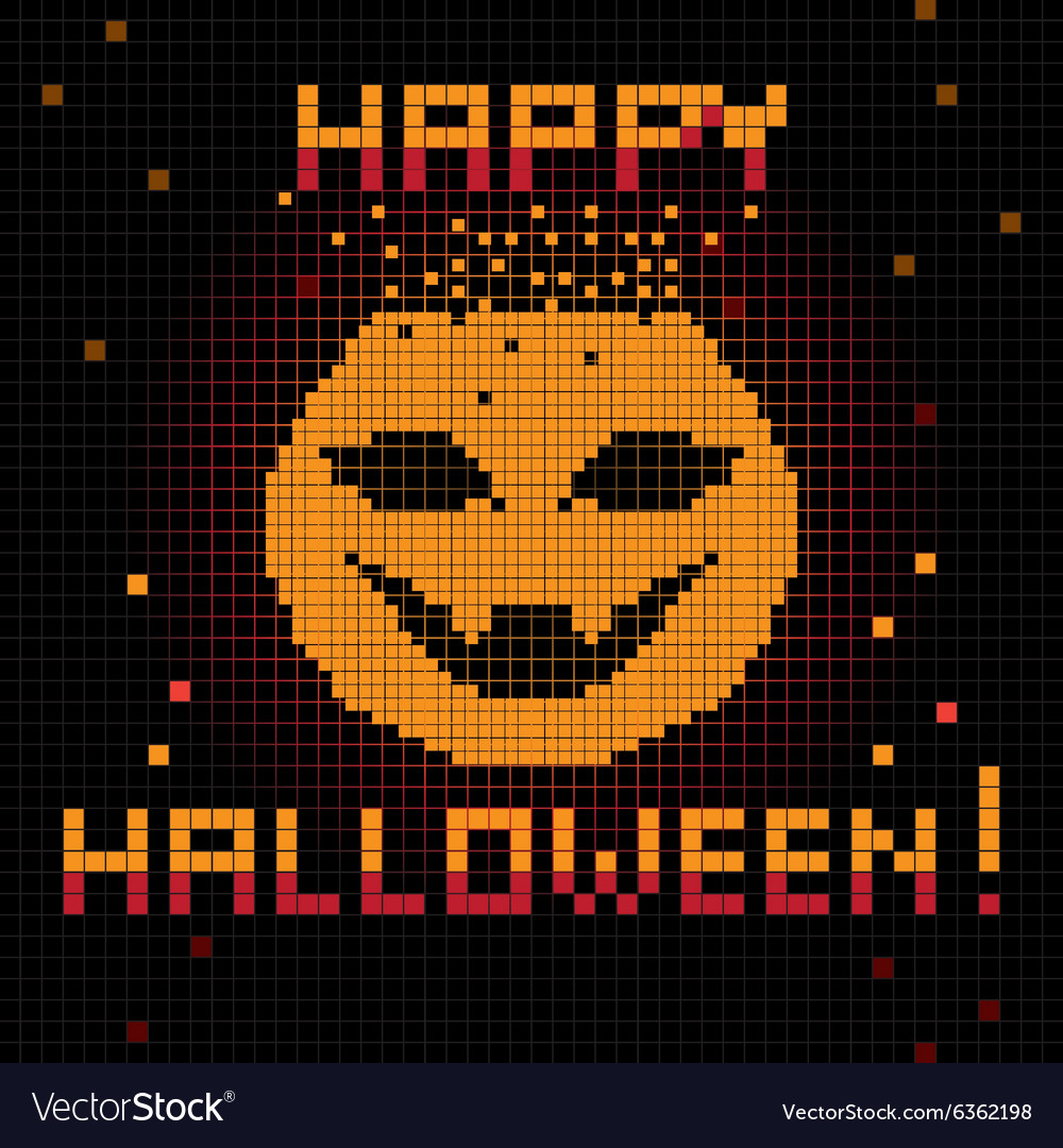 Pixel happy halloween pumpkin vector