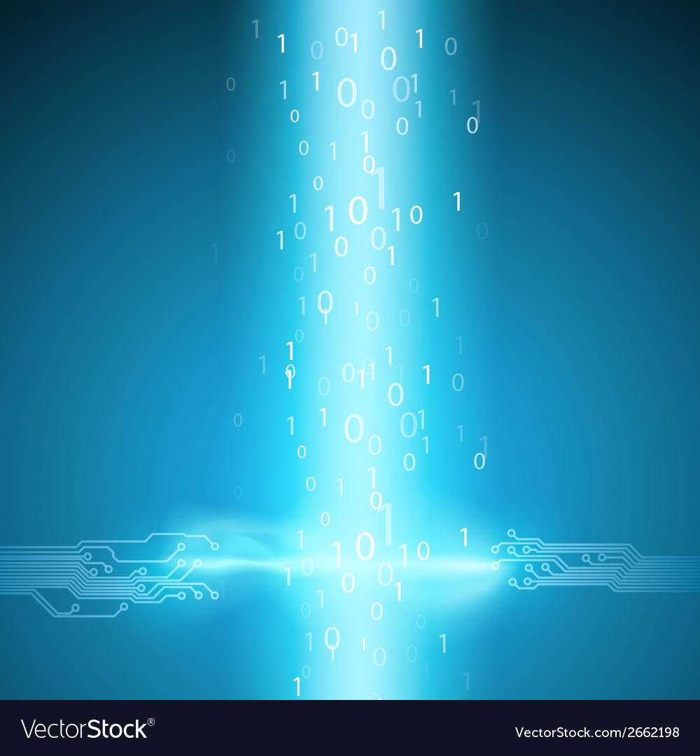 Stream of binary code with a circuit board texture vector