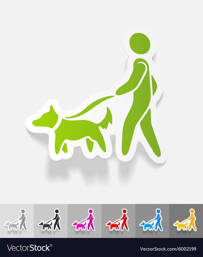 Realistic design element walking the dog vector