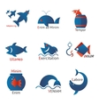 Different types of fish in minimalist design vector image