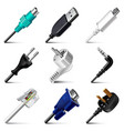 Cables and plugs icons set vector image