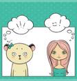 beautyful girl and panda pop art thinking bubble vector image