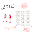 calendar for 2012 with woman vector image