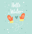 card with hand drawn funny mittens vector image