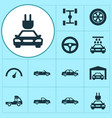 car icons set collection of van wheel repairing vector image