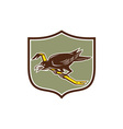 Crow Perching Crowbar Crest Retro vector image