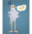 Cartoon Angry secretary bird Ask a question It vector image