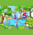 counting number one to five with dragonflies in vector image