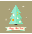 Happy New Year Card with Christmas Tree over Brown vector image