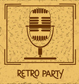 Invitation to retro party with microphone vector image
