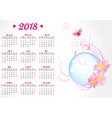 pink butterfly and flowers 2018 year calendar vector image