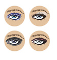 Set of beautiful female eyes vector image