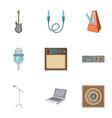 music studio equipment icons set cartoon style vector image