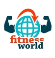 fitness world icon vector image vector image