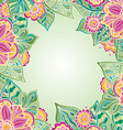 template with colorful flowers and leaves for vector image