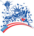 statue of liberty with icon set on flag vector image vector image