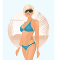 pretty girl on summer background - vector image