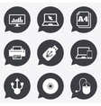 Computer devices icons Printer laptop signs vector image