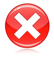 Red cross button - refuse wrong answer cancel vector image