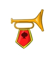 Golden trumpet with a red flag icon cartoon style vector image