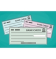 Blank bank checks isolated on green background vector image
