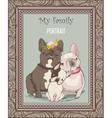 cute bulldog family portrait vector image