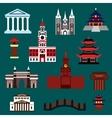 Famous world landmarks flat icons vector image