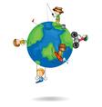 kids playing on earth globe vector image vector image