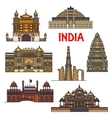 Travel landmarks of indian architecture icon vector image