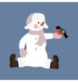 Snowman with bird vector image