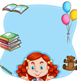 Red hair girl and book on border vector image