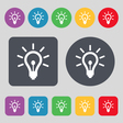 Light bulb icon sign A set of 12 colored buttons vector image