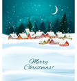 Winter village night Christmas background vector image