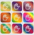 Hand print Stop icon Nine buttons with bright vector image