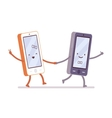Boy and girl smartphones are walking holding a vector image