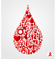 Drop symbol with AIDS icons vector image