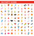 100 party icons set isometric 3d style vector image